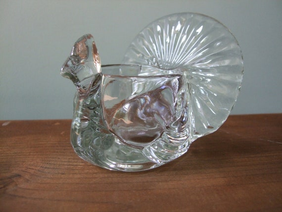 Avon Shimmering Peacock Candle Holder, Glass Turkey