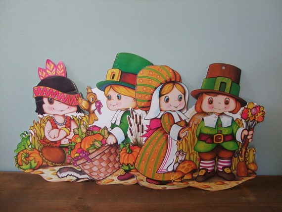 Thanksgiving pilgrim and indian children decorations