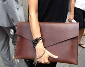 Large leather clutch - brown leather clutch bag - carryall pouch, brown bridle leather iPad/laptop/document holder by Aixa Sobin - bag maker