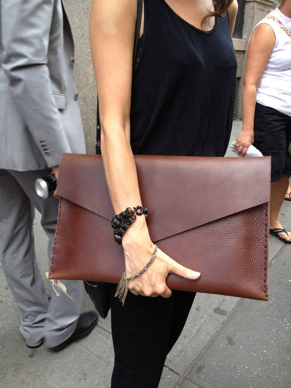 Large leather clutch - brown leather clutch bag - carry all pouch, hand stitched leather clutch by Aixa