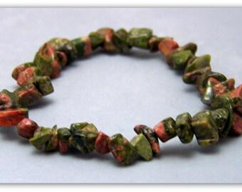 Stretch Bracelet - Gemstone Bracelet - Unakite Bracelet, Unakite Chips, Bead Bracelet, Gemstone Jewelry