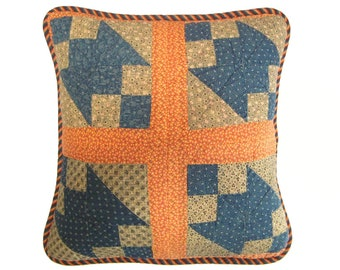 Vintage Quilt Pillow Cover, 20 Inch with Navy & Orange Stripe Piping, Graphic and Contemporary  (insert extra)