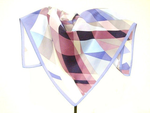 Vintage Anne Klein Designer Silk Scarf, 21 inch square, Gorgeous Lavender, Mauve. Grey & Creme Geometric Design , Excellent Condition