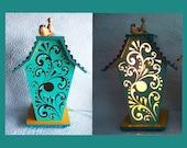 Night Light Table Lamp Birdhouse Swirl Design