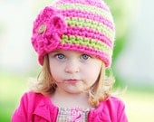 Toddler Girl Striped Hat in Bubblegum Pink and Lime Green-Size 4-8 Years