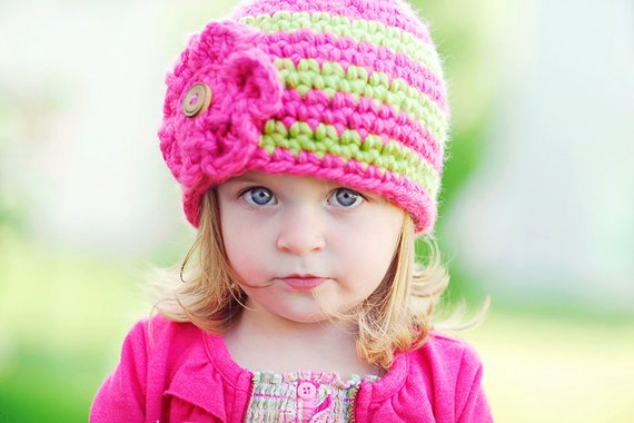 ... Hat Pattern, 4 sizes, Craft Supplies, Girls Crochet Hat, Toddler Girl