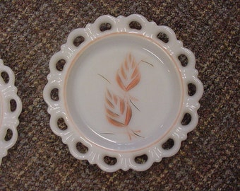 Two Milk Glass Lace Edged Plates with Handpainted Leaf design
