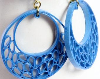 Blue Crescent Earrings with Niobium Earring Hooks Eco Friendly Jewelry, Artisan Jewelry hypoallergenic