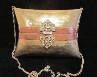 Vintage Brass Copper Purse 1930s Handbag Pillow Purse Wedding Formal Shell Evening Bag TERRIFIC CONDITION