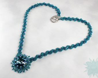 Teal Turquoise Blue Swarovski Crystal Spiral Necklace, Beadweaving Statement Necklace, Blue Lagoon Custom Rivoli, Made to Order