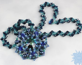 Blue Green Hand Stitched Crystal Necklace Swarovski and Spiral Rope