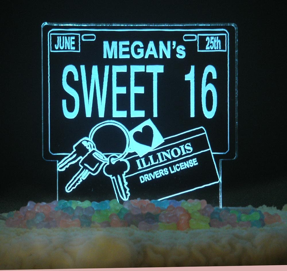 Design Your Own Sweet 16 Cake : 16th Birthday DRIVER S LICENSE Cake Topper Female or