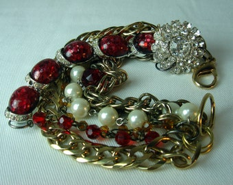 Pearl Bracelet,Re-purposed,  Red Vintage Assemblage, Holiday