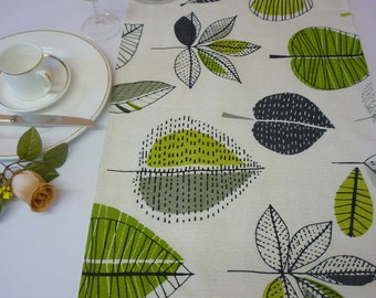"Lime Green Table Runner Modern Funky Designer Floral Cotton Over 6ft (2mts long-78"")"