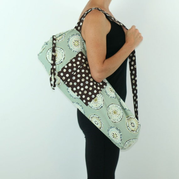 FREE SHIPPING- Yoga Bag in Tie Dye Mandala and Blue with a Zipper Pocket