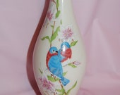 Lenox Limited Edition Double Sided Bluebird Couple and Butterflies Eternal Love Porcelain Signed Bud Vase Wedding Table Decor