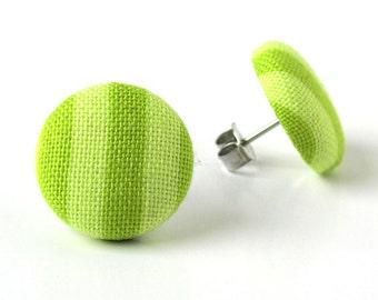 SALE Apple green earrings - pistachio green button earrings - green stud earrings - fabric covered kiwi striped small