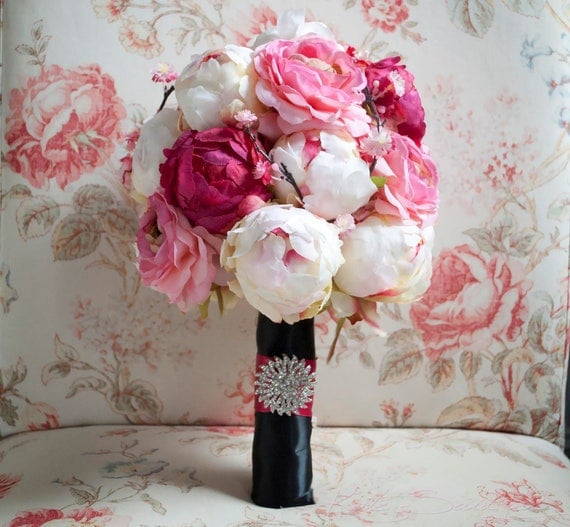Cherry Blossom and Peony Wedding Bouquet - Black and Pink Peony Bouquet
