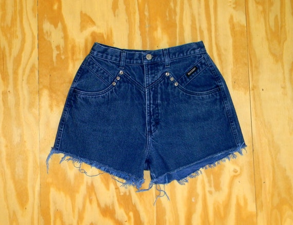 Vintage Denim Cut Offs - Vintage 90s Dark Wash Blue Jean Shorts - High Waisted Studded/Frayed/Cut Off Shorts/Daisy Dukes - Size 5/6