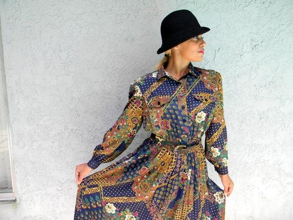 Vintage Secretary Dress - Vintage 80s/90s Shirt Waist Dress w/ Pleated Skirt/Matching Belt/Polka Dot Floral Fabric - Size 9/10 11/12