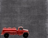 Vintage Toy Fire Watering Truck on Grey  One Photo   Print
