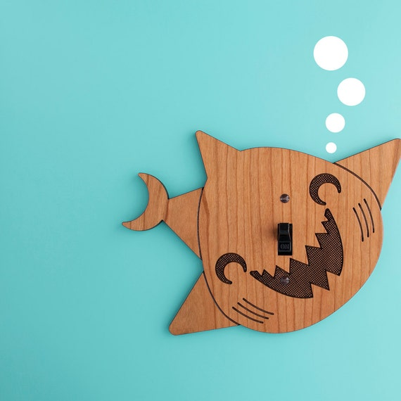 Wood Shark Switchplate Kids Ocean Wall Light Switch Cover