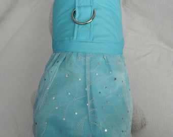 Aqua Blue WEDDING GOWN Bridal Party Satin & Sparkly Organza Harness. Perfect Item for your Cat, Dog or Ferret. all Items are custom made.