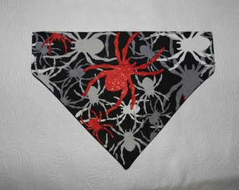 Dog/Cat/Ferret-Reversible 2 in 1 Over the Collar BANDANA. Glittery SPIDER Halloween Holiday Theme.  Custom made just for YOU and your pet