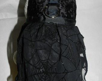 Custom Fancy Black Velvet Gothic SPIDER WEB Halloween Harness Dress. Perfect for your Cat, Dog or Ferret.