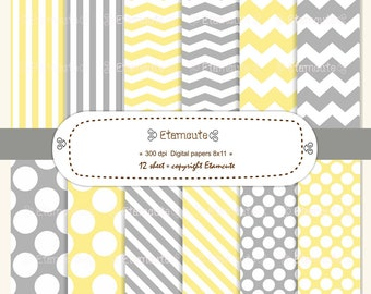 80%SALE, Baby yellow and grey digital paper, digital paper pack, scrapbooking , polka dots, chevron, zig zag, stripe, yellow, grey  E- 106
