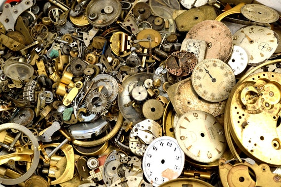 Steampunk watch parts, watch movements, gears, over 2 ounces, 60 grams