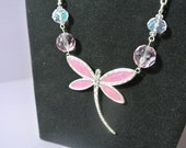 Vintage dragonfly necklace- pink