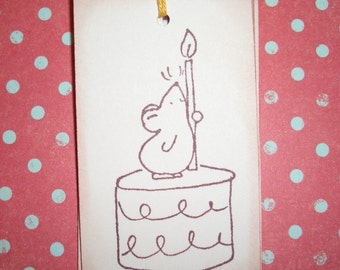 Birthday Tags - Little Mouse with Candle on Birthday Cake - Wish Tree Tags - Wish Cards - Party Decorations - Set of Six