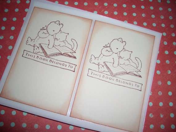Bookplates - Sweet Little Bear and Cat Reading Together - This book belongs to  -  Stickers Seals - Cute - Set of Six -