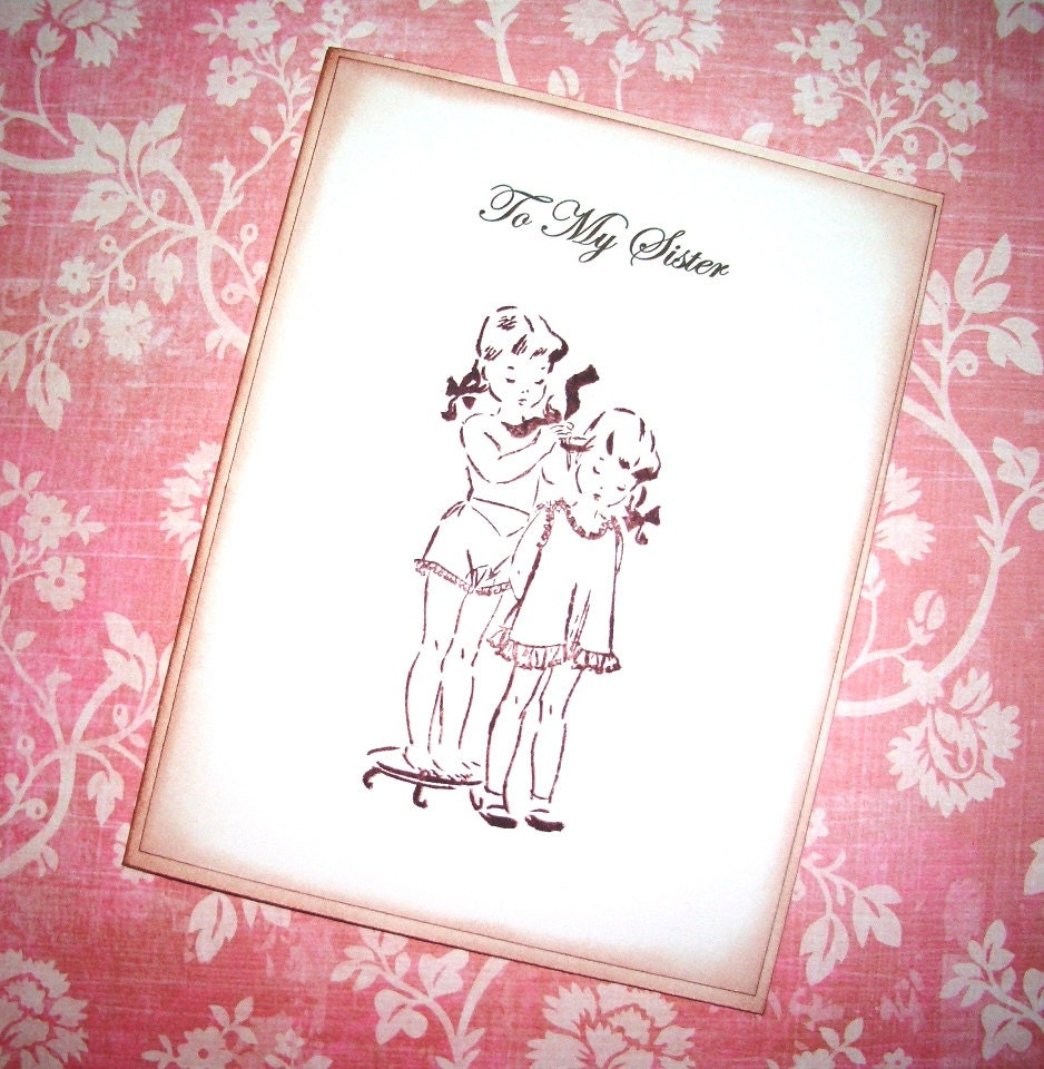 To My Sister Card Sweet Vintage image Wedding Card – Happy Birthday to My Sister Cards