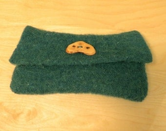 Rustic Wool Felt Clutch Purse in jade- natural wood button