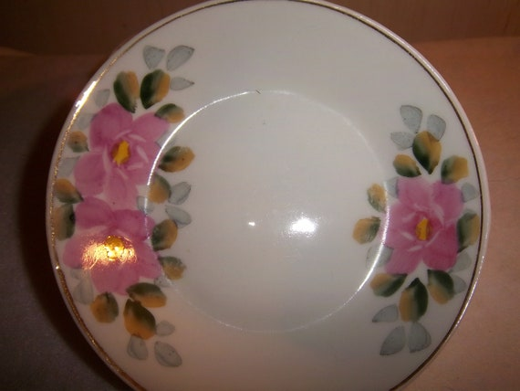 Set of 4 Made in Japan Bowls Unmarked Pink Flowers with Gold Border
