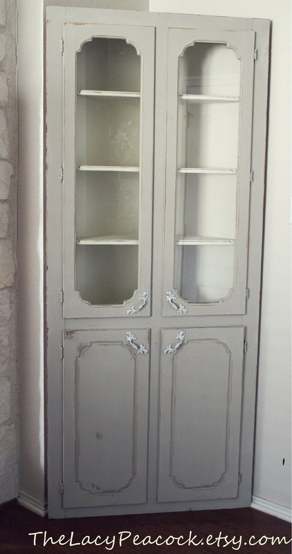 Items Similar To Grey And White Shabby Chic Corner Cabinet