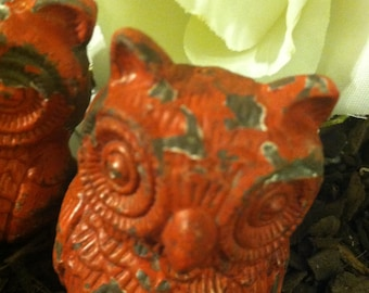 Owl Drawer Pulls / Drawer Knobs / Shabby Chic Knobs / Set of 2