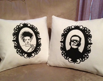 Monster movie pillow covers frankenstein and bride