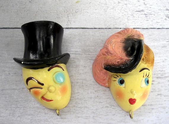 Retro Kitchen Decor - Chalkware Faces - Man and Woman - Mid Century Kitsch