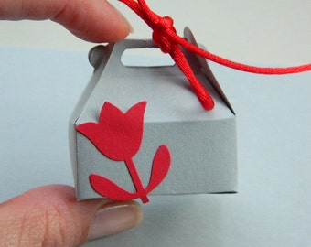 Jewelry Gift Wrap Box - Box for Rings - Flowers, Red, Lovely, Soft, Romantic, White, Favor, Holiday, Kids, Mini Box, Cute