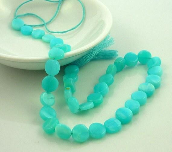 Blue peruvian opal coin beads 9mm 1/4 strand
