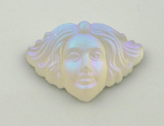 Outstanding renaissance Angelic face cabachon in frosted white ab glass 18mm x 12mm
