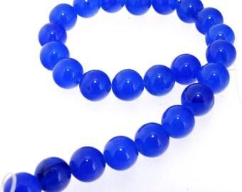 "Charm 24Beads Round Blue Jade 8mm Gemstone Beads 7.5"""