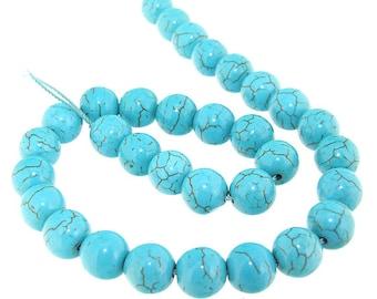 Round 10mm Turquoise Gemstone 32Beads