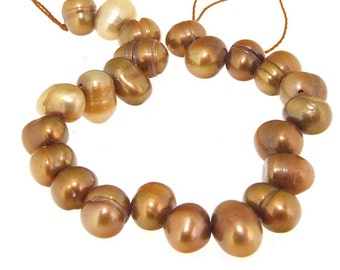 Luster Rice Coffee Freshwater Cultured Pearl 6mmx8mm Gemstone 23Beads