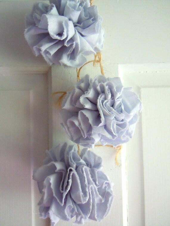 Dusty Light Blue Flower Pom Pom Ornaments- Flower Pom Pom Garland- Set of 3