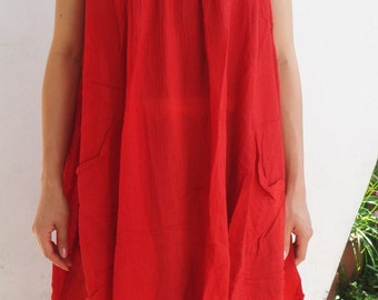 D5, Bright Red Maternity Cotton, red dress