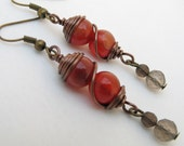Red Wire Wrapped Earrings with Smoky Quartz Bronze Wire Autumn Colours